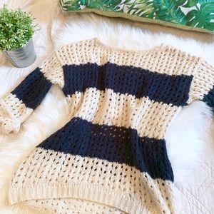 Joan Vass Open Knit Oversized Sweater   Size Small